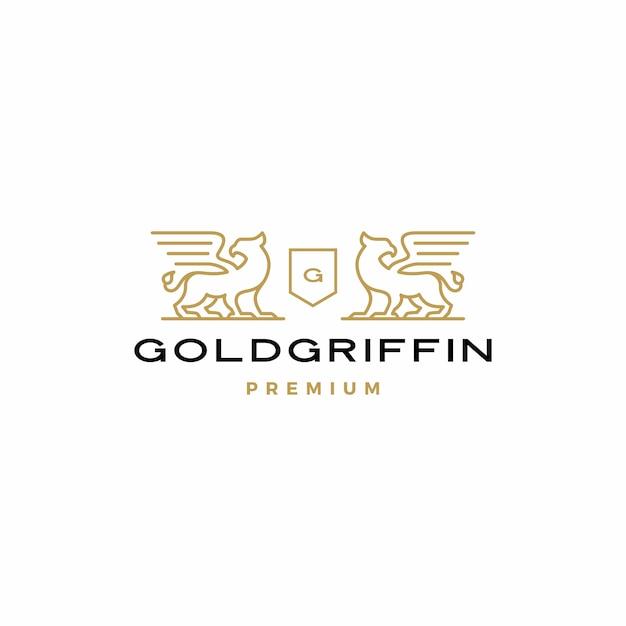 Griffin coat of arms logo Premium Vector