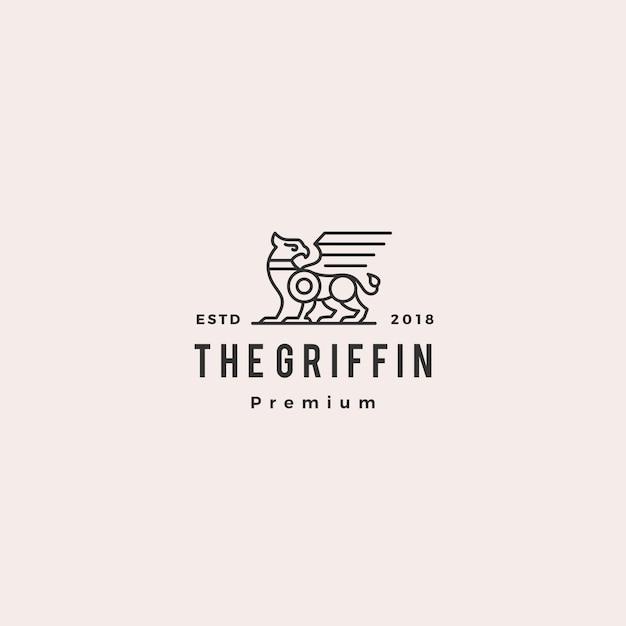 Griffin logo retro vintage hipster label illustration Premium Vector