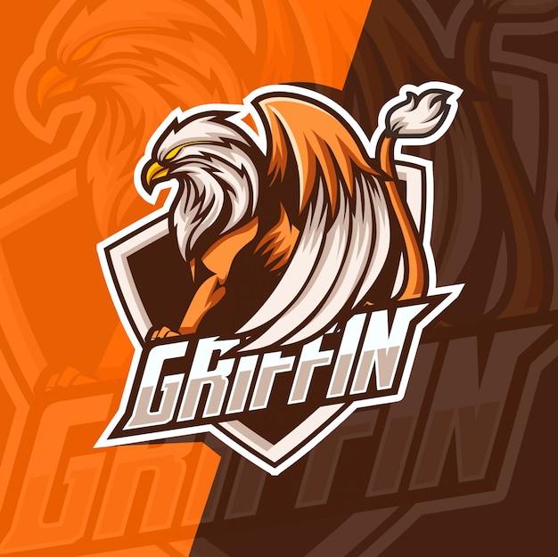 Griffin mascot esport logo Premium Vector