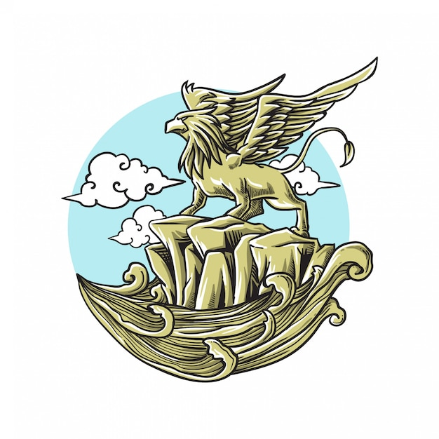 Griffin ready to flying in the sky Premium Vector