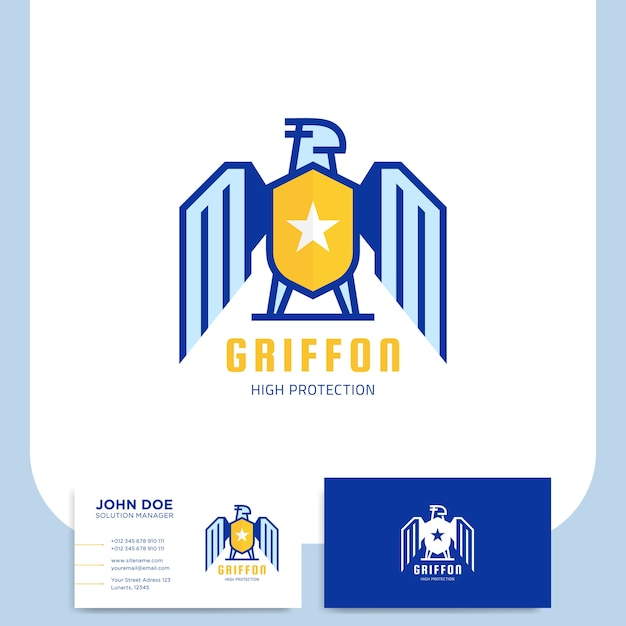 Griffon shield logo design for security company with business card Premium Vector
