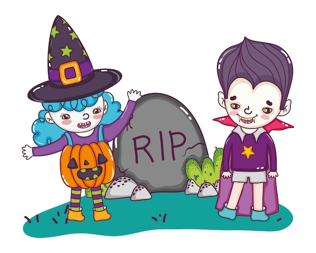Gril and boy with halloween costume and rip stone Premium Vector