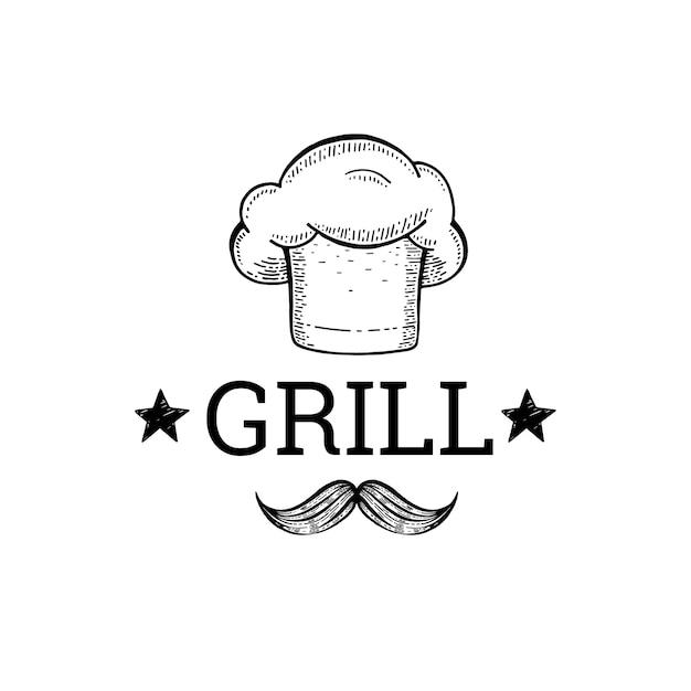 Гриль и детка эскиз логотипа с шляпу шеф-повара и усы. Premium векторы