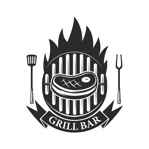 Гриль-бар. резаное мясо и скрещенные мясные дровосеки. элемент для логотипа, этикетки, эмблемы. иллюстрация Premium векторы