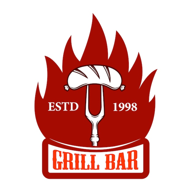 Гриль-бар. вилка с колбасой и огнем. элемент для логотипа, этикетки, эмблемы, знака. образ Premium векторы