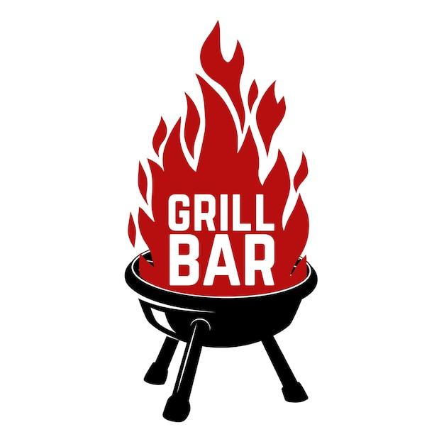 Grill bar. illustration of bbq with fire.  element for logo, label, emblem, sign, badge.  image Premium Vector