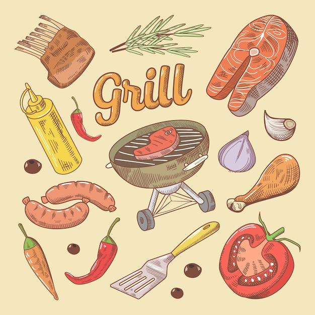 ステーキとソーセージのグリルバーベキュー落書き Premiumベクター