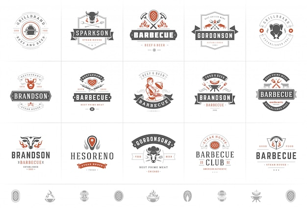 Grill and barbecue logos set vector illustration steak house or restaurant menu badges with bbq food Premium Vector