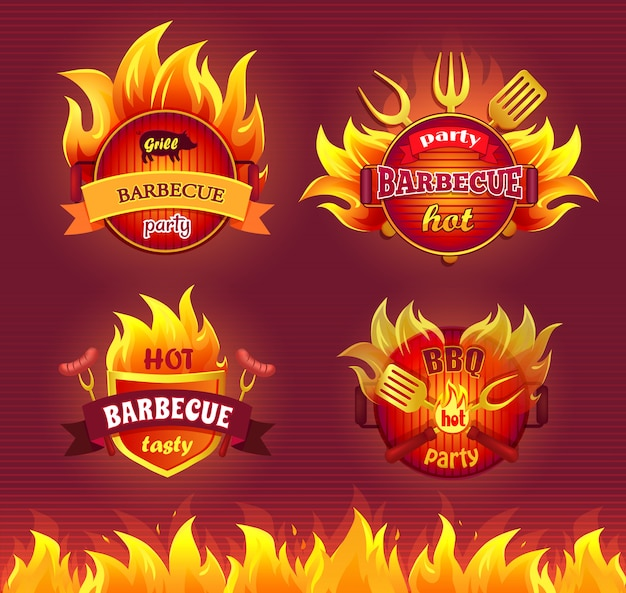 Grill barbecue party hot badge set Premium Vector