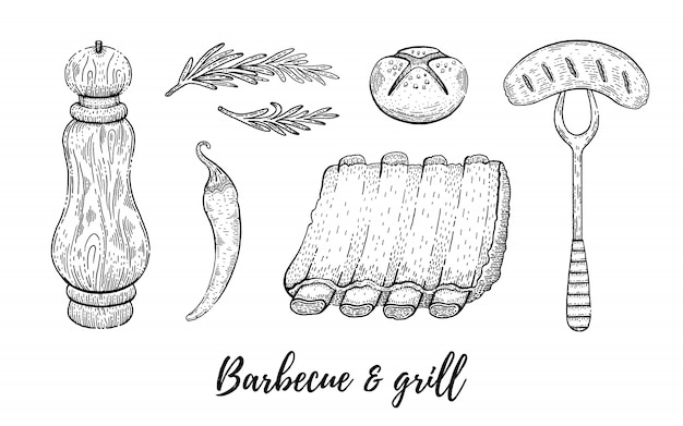 Grill and barbecue reataurant menu sketch set. Premium Vector