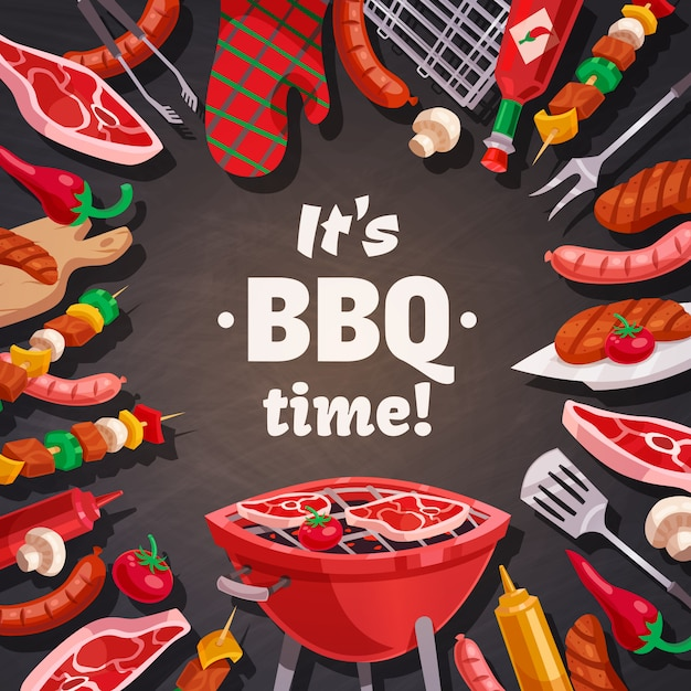 Grill bbq time background Free Vector