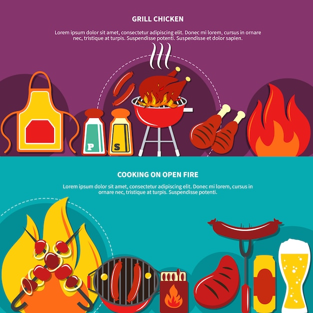 Grill chiken and cooking on open fire flat Free Vector