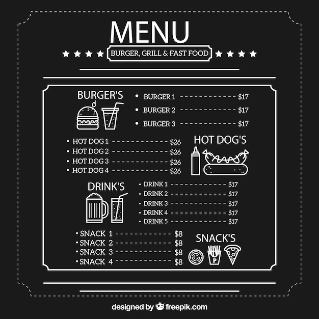 Grill and fast food menu template vector premium download - Carte restaurant buffalo grill ...