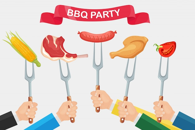 Grill hot chicken ham, sausage, beef ribs, steak with fork in hand isolated on white background. Premium Vector