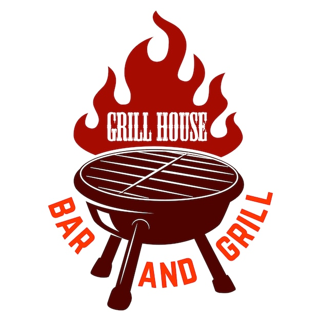 Grill house. bbq illustration with fire.  element for logo, label, emblem, sign.  image Premium Vector