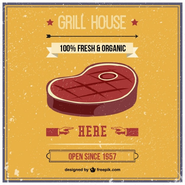 Grill house retro Free Vector