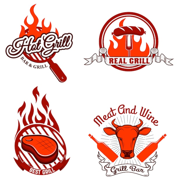 Grill labels and emblems. Premium Vector