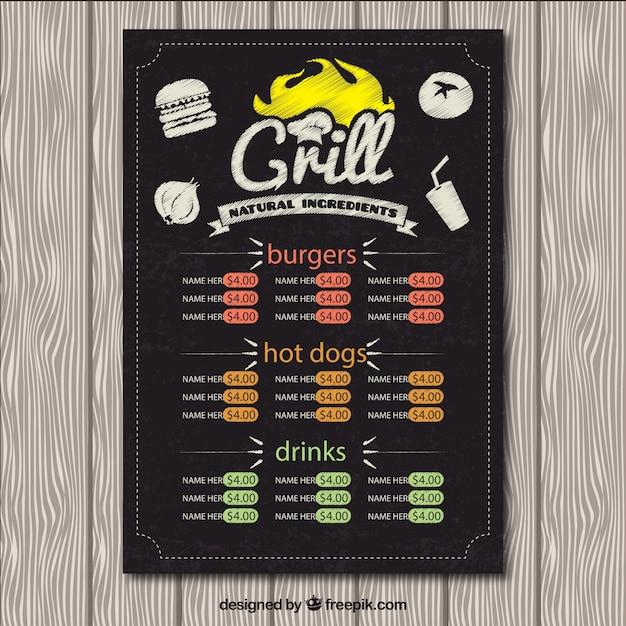 Grill menu in blackboard Premium Vector