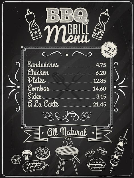 Grill menu chalkboard Free Vector