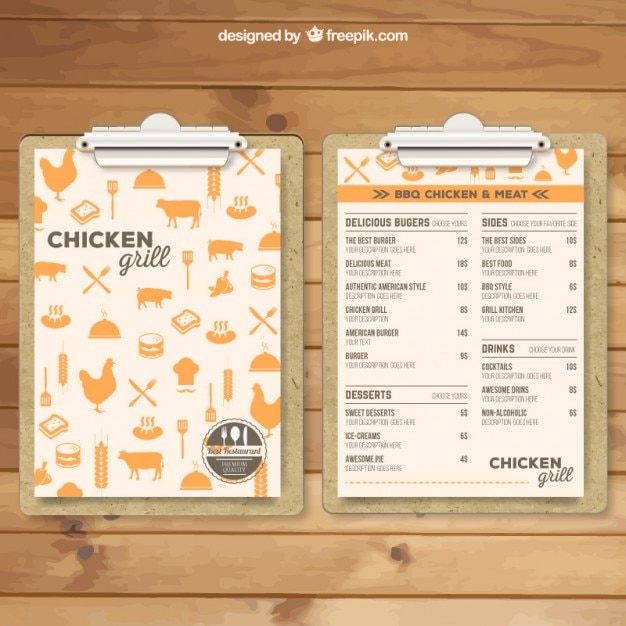 Grill menu template vector free download for Idee de menu original