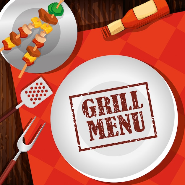 Grill menu with delicious brochette and dish Free Vector