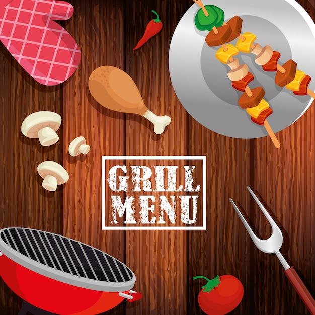 Гриль-меню с вкусной едой на деревянном фоне Бесплатные векторы