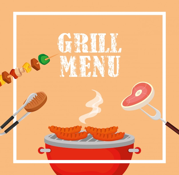 Grill menu with delicious food in square frame Free Vector