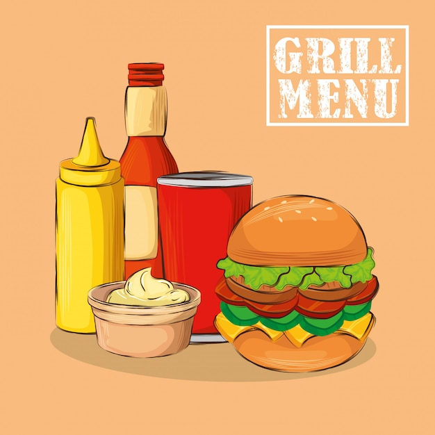 Grill menu with delicious hamburger Free Vector