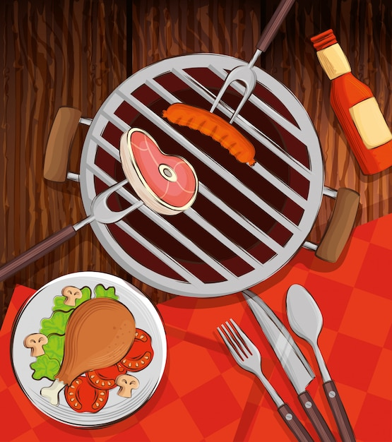 オーブンと木製のテーブルで美味しい料理のグリルメニュー Premiumベクター