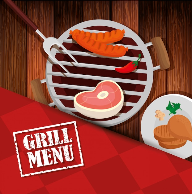 Grill menu with oven and icons in wooden table Premium Vector
