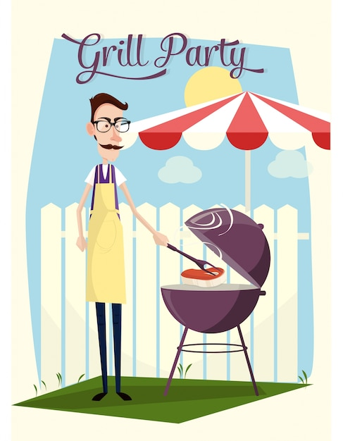 Grill party design Premium Vector