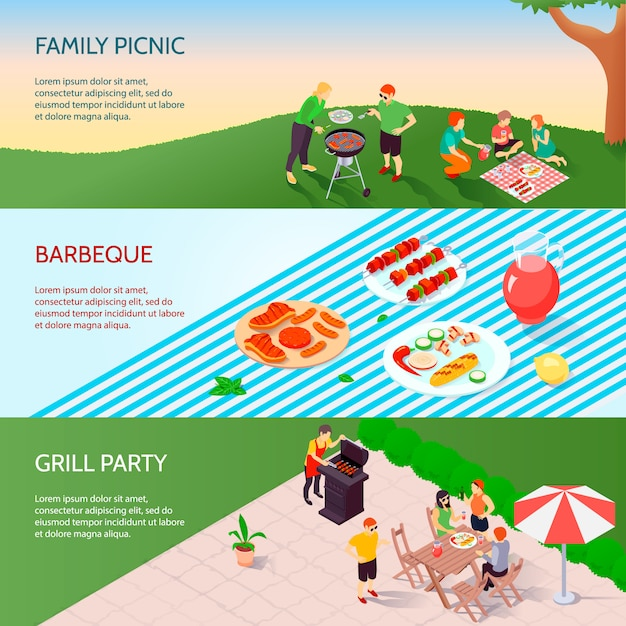Grill party isometric banners set Free Vector