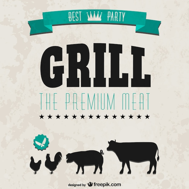 grill party retro style invitation vector | free download, Einladung