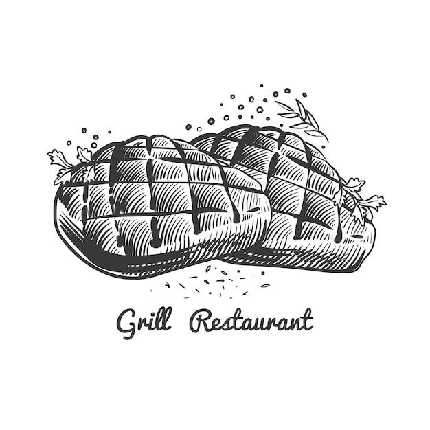 グリルレストラン、手描きのステーキとスパイシーなステーキハウスイラスト Premiumベクター