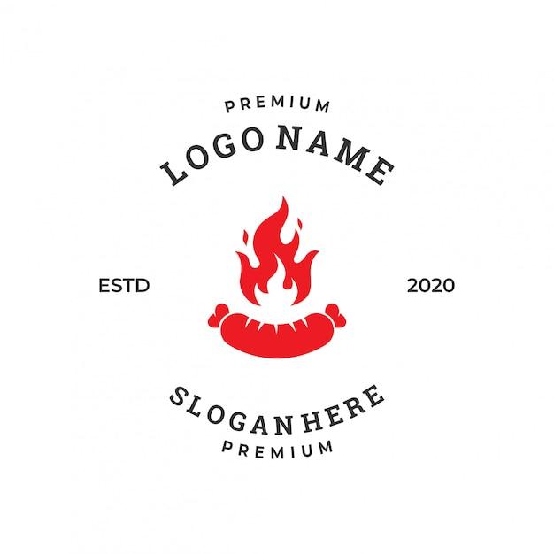 Grill sausage logo design template Premium Vector