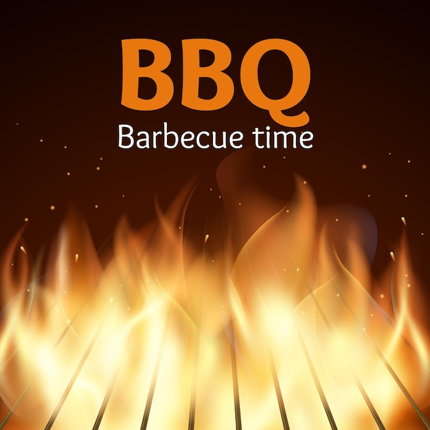 Grille with fire. bbq poster. flame for barbecue, cooking grilled, vector illustration Free Vector