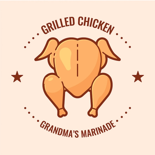 Grilled chicken logo Free Vector