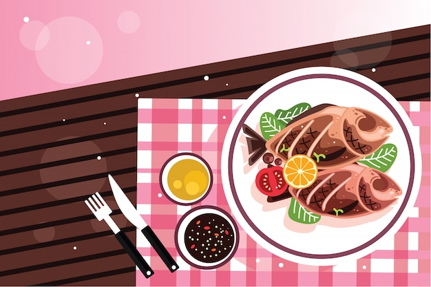 Grilled fish with herbs and lemon Premium Vector