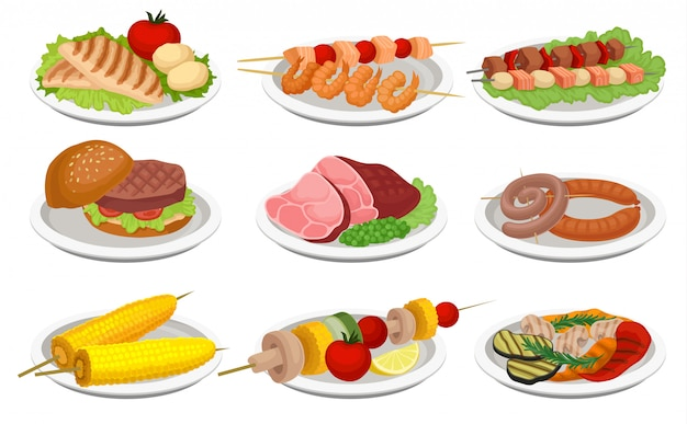 Grilled food set, delicious dishes for barbecue party menu, meat and vegetarian food  illustration on a white background Premium Vector