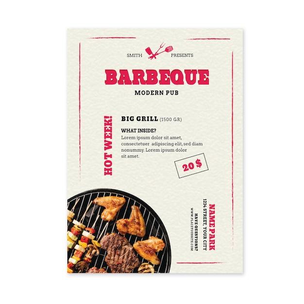 Шаблон флаера барбекю из свежих продуктов на гриле Premium векторы