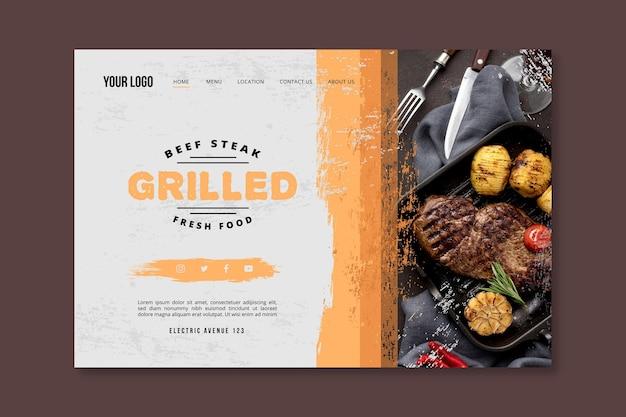 Целевая страница барбекю из свежих продуктов на гриле Бесплатные векторы