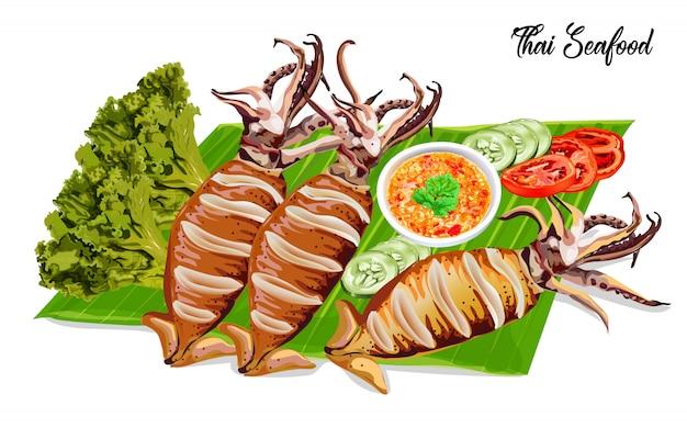 Grilled squids Premium Vector