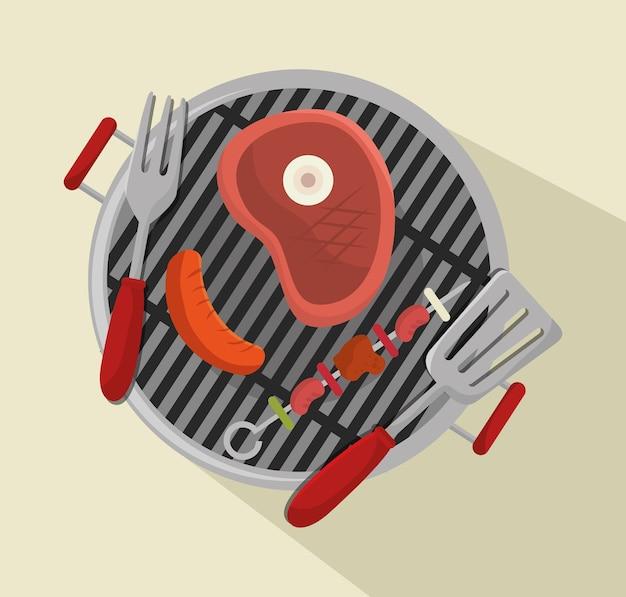Grills menu beef beer design isolated Premium Vector