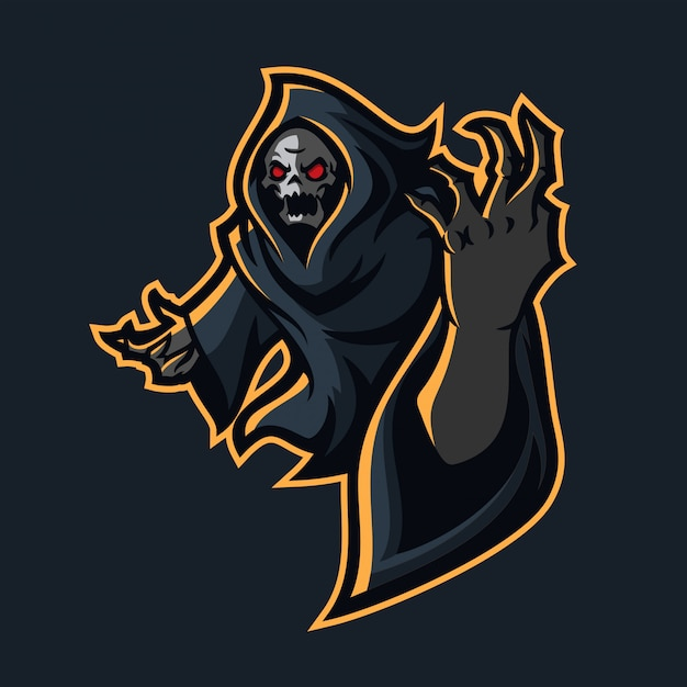 grim reaper esport gaming mascot logo template vector premium download