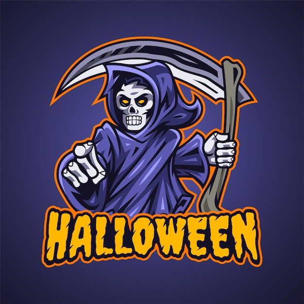 Grim Reaper Esport 마스코트 로고 프리미엄 벡터