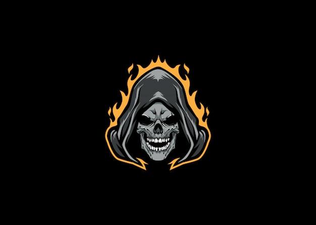Grim reaper head логотип esport Premium векторы