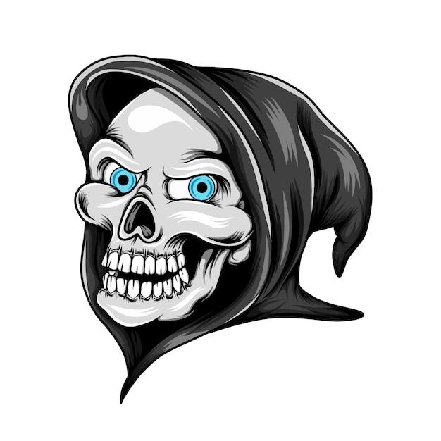 파란 눈을 가진 잔인한 사신의 머리 두개골과 검은 색 의상을 사용 프리미엄 벡터