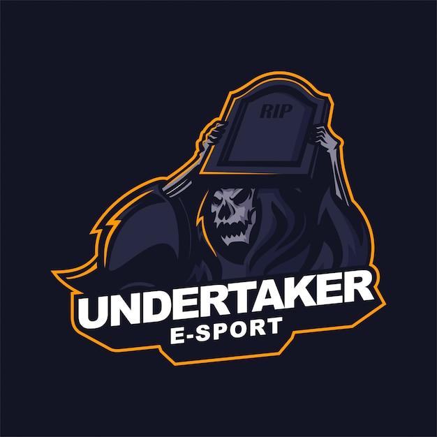 Grim reaper holding gravestone e-sport gaming mascot logo template Premium Vector