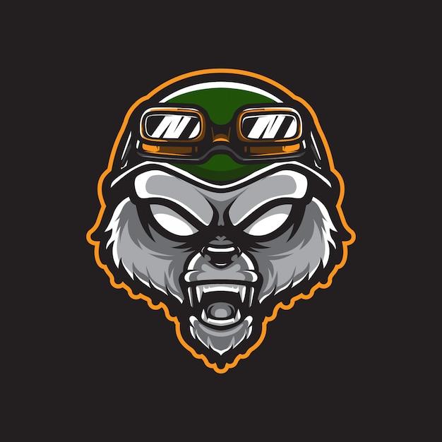 グリズリーアーミーヘッドのロゴのテンプレート Premiumベクター