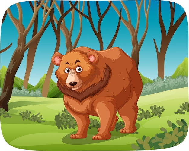 A grizzly bear in forest Free Vector